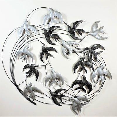 Wanddeco zwaluwen zilver cirkel