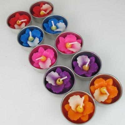 Waxinelichtjes Orchidee, set van 10 assorti