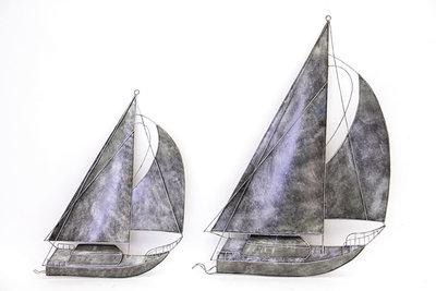 Wanddeco metalen zeilboot