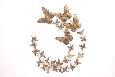 Wanddeco Vlinders Koper cirkel 110 x 120 cm