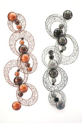 Wanddeco metaal cirkels trans., 97x28 cm set2