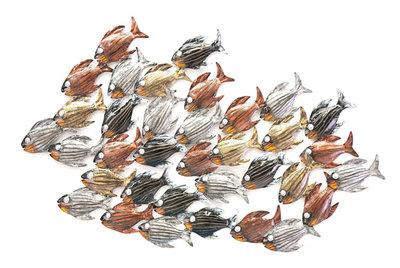 Wanddeco school vissen multicolor