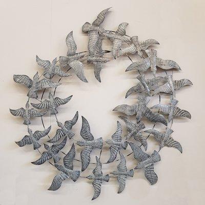 Wanddeco vogels zilver cirkel