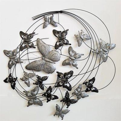 Wanddeco Vlinders zilver cirkel